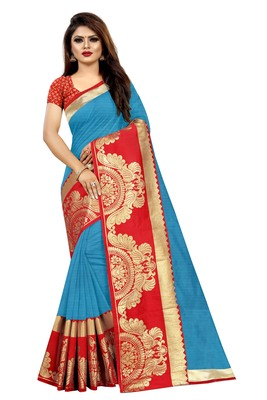 Sky blue woven chanderi saree with blouse