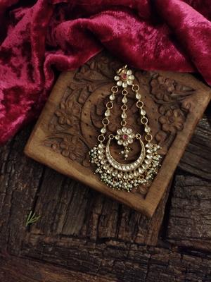 Gold Tone Kundan Inspired Jhoomar/Passa