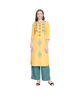 Yellow Cotton Slub Jacket Style Floral Embroidery Straight Fit Kurta for Women