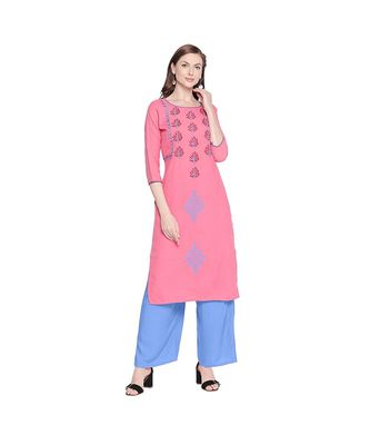 Pink Cotton Slub Jacket Style Floral Embroidery Straight Fit Kurta for Women