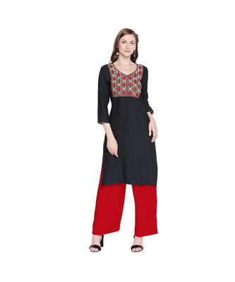 Black Rayon with Red , Green & white Neckline Embroidery with V Neck Straight Fit Kurta for Women