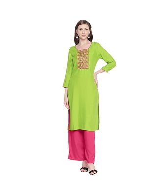 Green Rayon Straight Fit Kurta with Mustard and Dark Pink Neck Border Embroidery for Women
