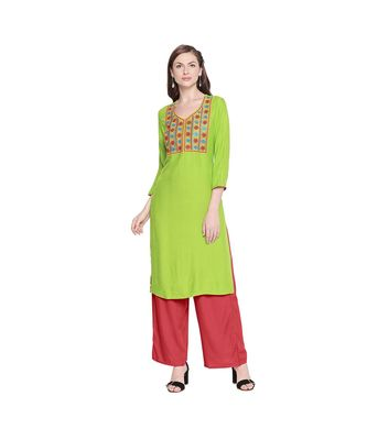 Green Rayon Straight Fit Kurta with Multi Color Embroidered Neckline  for Women