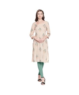 Beige Cotton Kurta with Checks Print and Green & Gold Floral Print with Asymetrical Neckline for Women