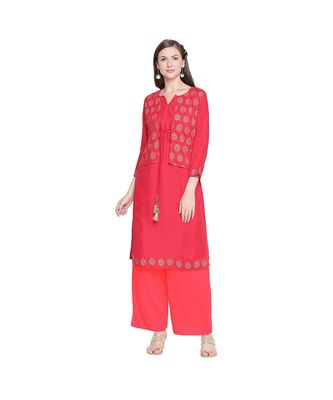 Red Rayon Solid and Gold Print Jacket Style Kurta with Round Neck and Tassels for Women