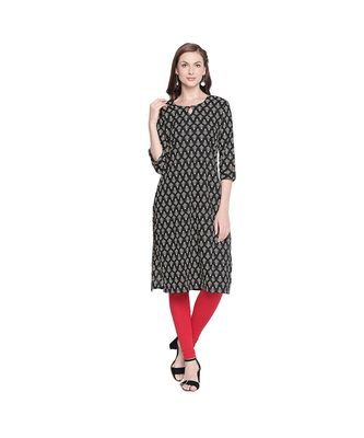 Black Cotton All Over Printed Straight Fit Kurta with Keyhole Neckline & Button for Women
