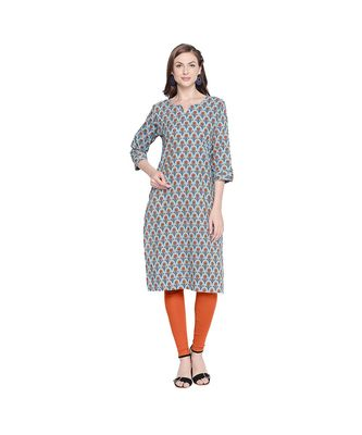 Blue with Orange Floral All Over Printed Cotton Straight Fit Kurta with Round Neckline for Women