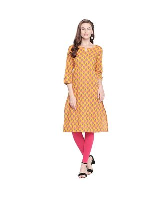 Yellow with Pink Floral Motif All over printed Stright Fit with Kurta with Keyhole Neckline for Women