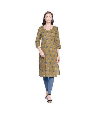 Olive Green with Blue Floral Printed Cotton Straight Fit Kurta with V Neck for Women