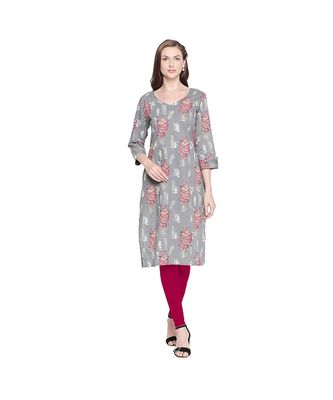Grey Cotton All Over Leaf Print Straight Fit Kurta with V Neck for Women