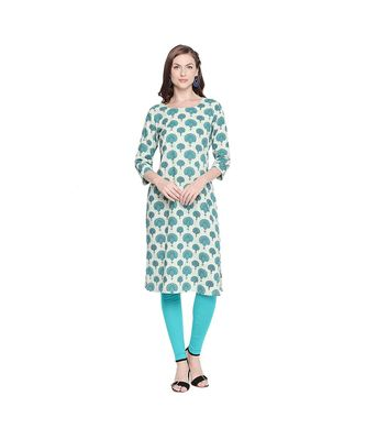 Light Green With Dark Green All Over Butta Print Cotton Straight Fit Kurta With Round Neckline for Women