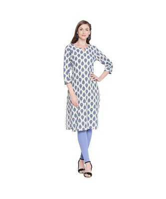 Offwhite Cotton All Over Blue Floral Motif Straight Fit Printed Kurta with Keyhole Neckline for Women