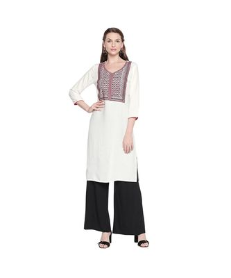 White with Red & Black Neckline Embroidered Rayon Kurta with V Neck for Women