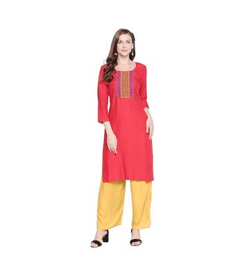 Red Rayon with Yellow & Blue Neckline Embroidered Kurta with Round Neck for Women