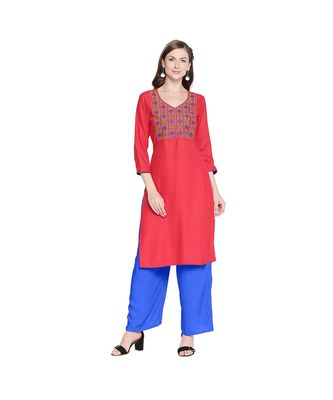 Red Rayon Straight Fit Kurta with Multi Color Neckline Embroiderey with V Neckline for Women