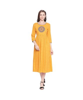 Yellow All Over Print with Round Patch Embroidered Cotton Anarkali Kurta with Round Neck for Women