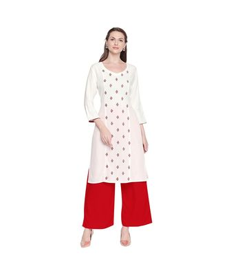 White Rayon V neck Straight Fit kurta with Marooon Motif Embroidery for Women