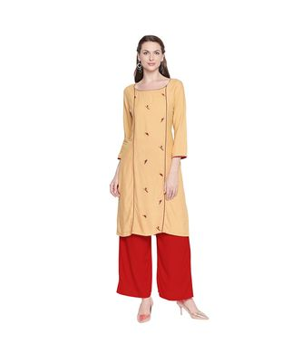Beige Straight Fit Princess line Kurta with Bird Embroidery Motif and Round Neckline for Women