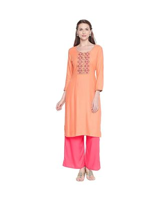 Peach Rayon Straight Fit Kurta with dark pink and Gold Neck Border Embroidery for Women