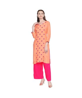 Peach Rayon Straight Fit Kurta with Dark pink Floral Motif Embroidery with V neckline for Women