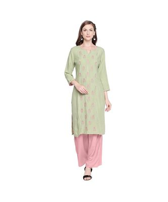 Pista Green Rayon Kurta with Floral Embroidery Motif with Round Neckline for Women