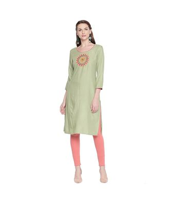 Pista Green Rayon Straight Fit Kurta with Round Patch Multi Color Embroidery With Round Neck  for Women