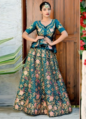 Green Plain Silk Unstitched Lehenga