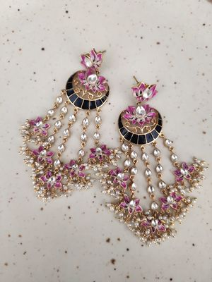 Pink Blue Meenakari Gold Tone Earrings