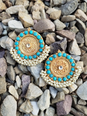 Turquoise Gold Tone Temple Studs