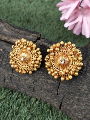 Gold Tone Ghungroo Temple Studs