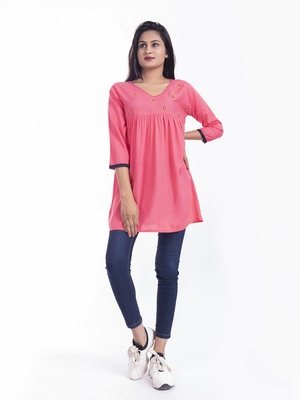 Pink woven viscose rayon long-tops