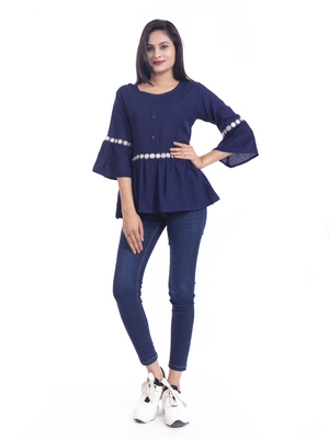 Blue woven viscose rayon long-tops