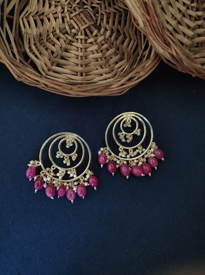 Red Gold Tone Beaded Earring