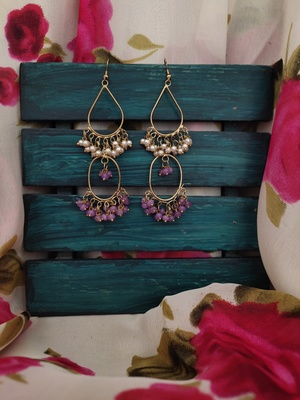 Pink White Gold Tone Beaded Earring