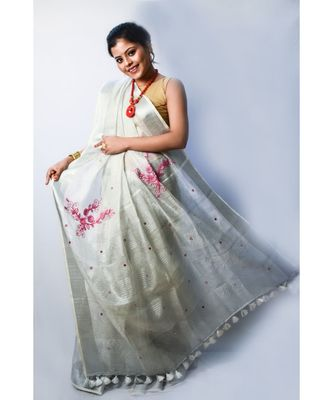 grey embroidered linen silk saree with blouse