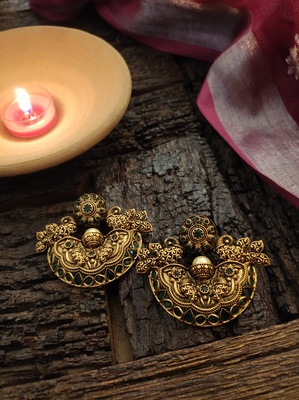 Green Gold Tone Temple Earrings