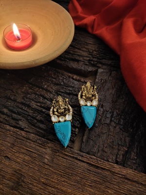 Turquoise Gold Tone Temple Earrings