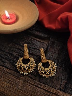 Blue Gold Tone Temple Earrings