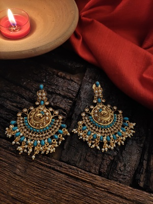 Turquoise Gold Tone Temple Earrigs