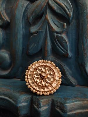Gold Tone Polki Inspired Ring