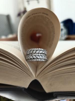 Silver Tone Victorian Faux Diamond Ring