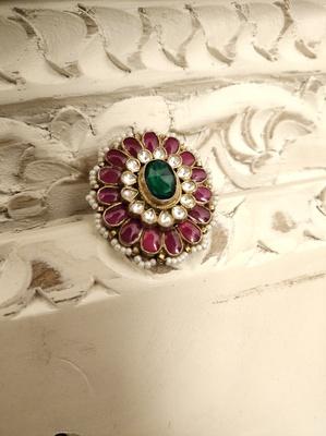 Gold Tone Kundan Inspired Ring