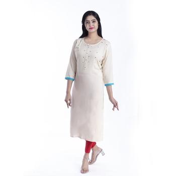 Cream hand woven rayon kurtas-and-kurtis