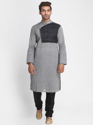 Grey solid cotton men-kurtas