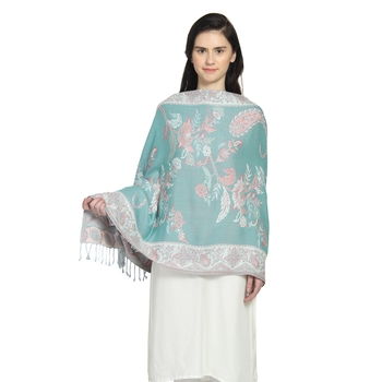 Light Blue & Pink Viscose Rayon Woven Design Floral Paisley Reversible Shawl
