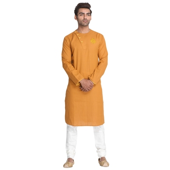 Yellow embroidered cotton men-kurtas