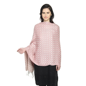 Pink & Grey Viscose Rayon Woven Design Polka Dot Reversible Shawl