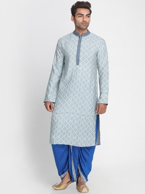 White printed viscose rayon men-kurtas