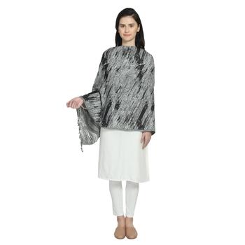 Black & White Viscose Rayon Woven Design Abstract Reversible Shawl