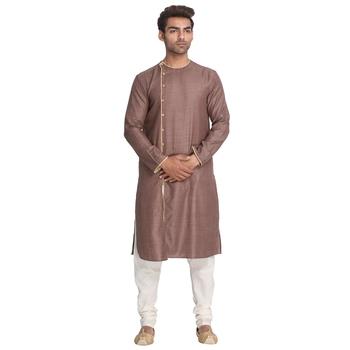 Brown woven cotton silk men-kurtas